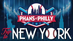 An ad promoting a Phillies Bus Trip to Yankee Stadium